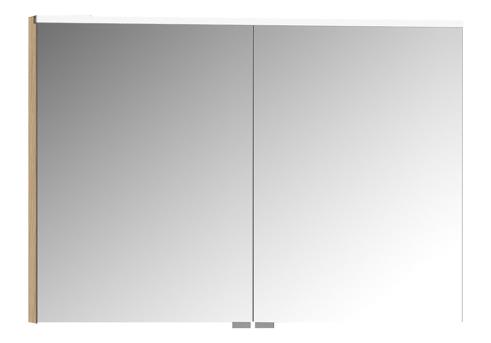 Sento Premium armoire de toilette, 100 cm, éclairage LED horizontale, chêne naturel, 2 portes