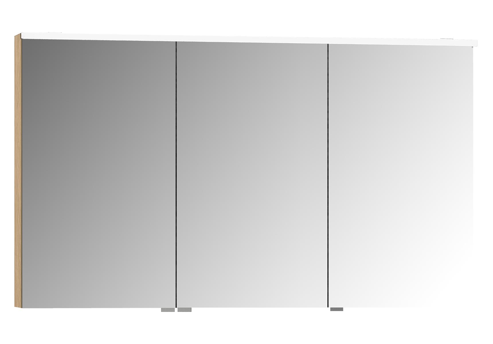 Sento Premium armoire de toilette, 120 cm, éclairage LED horizontale, chêne naturel, 3 portes