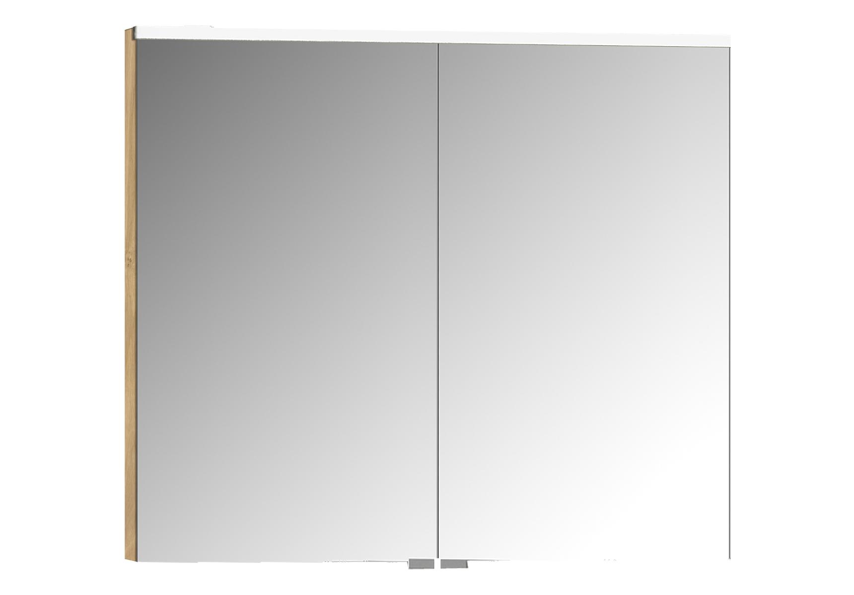 Integra Premium armoire de toilette, 80 cm, éclairage LED horizontale, chêne, 2 portes