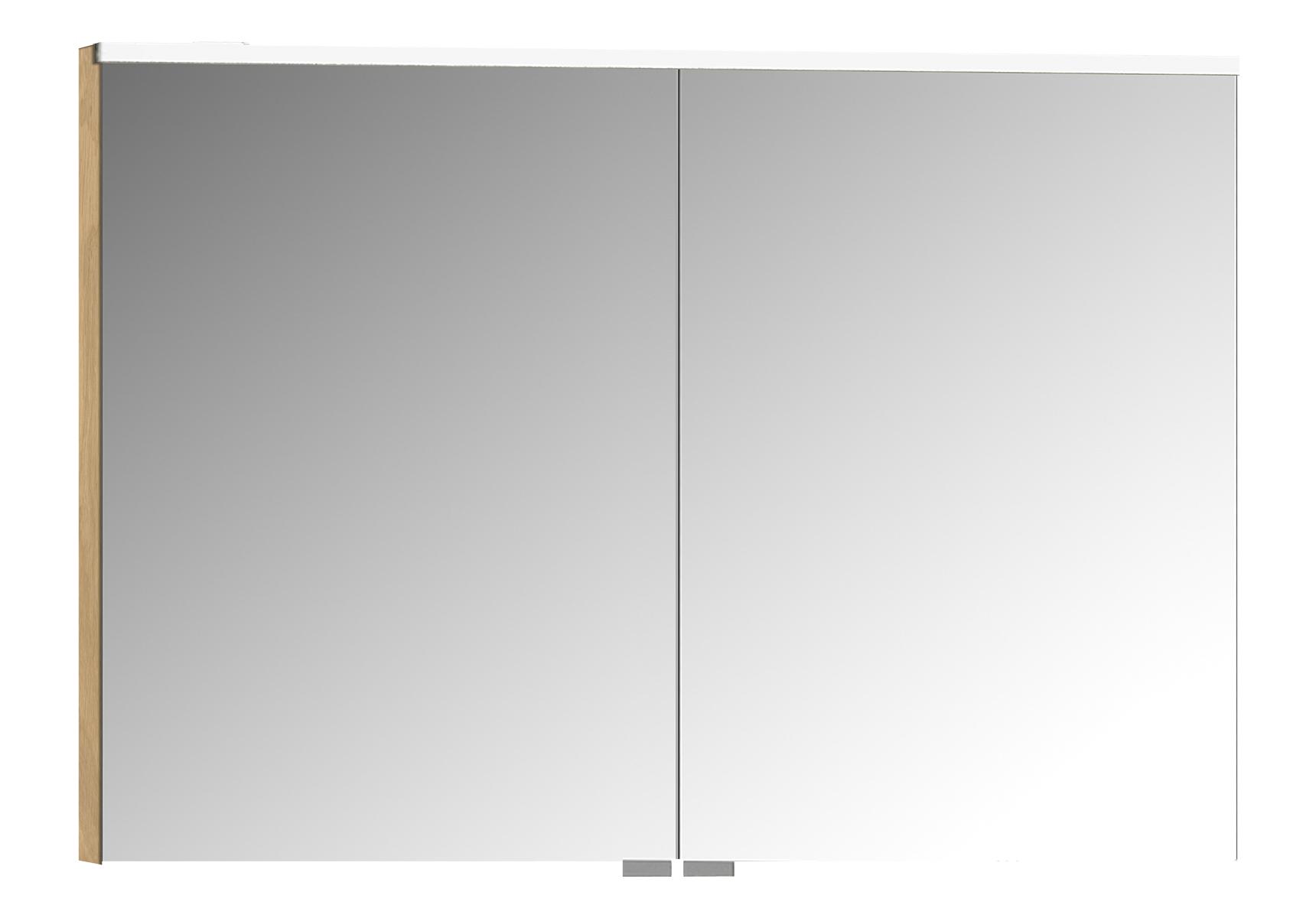 Integra Premium armoire de toilette, 100 cm, éclairage LED horizontale, chêne, 2 portes