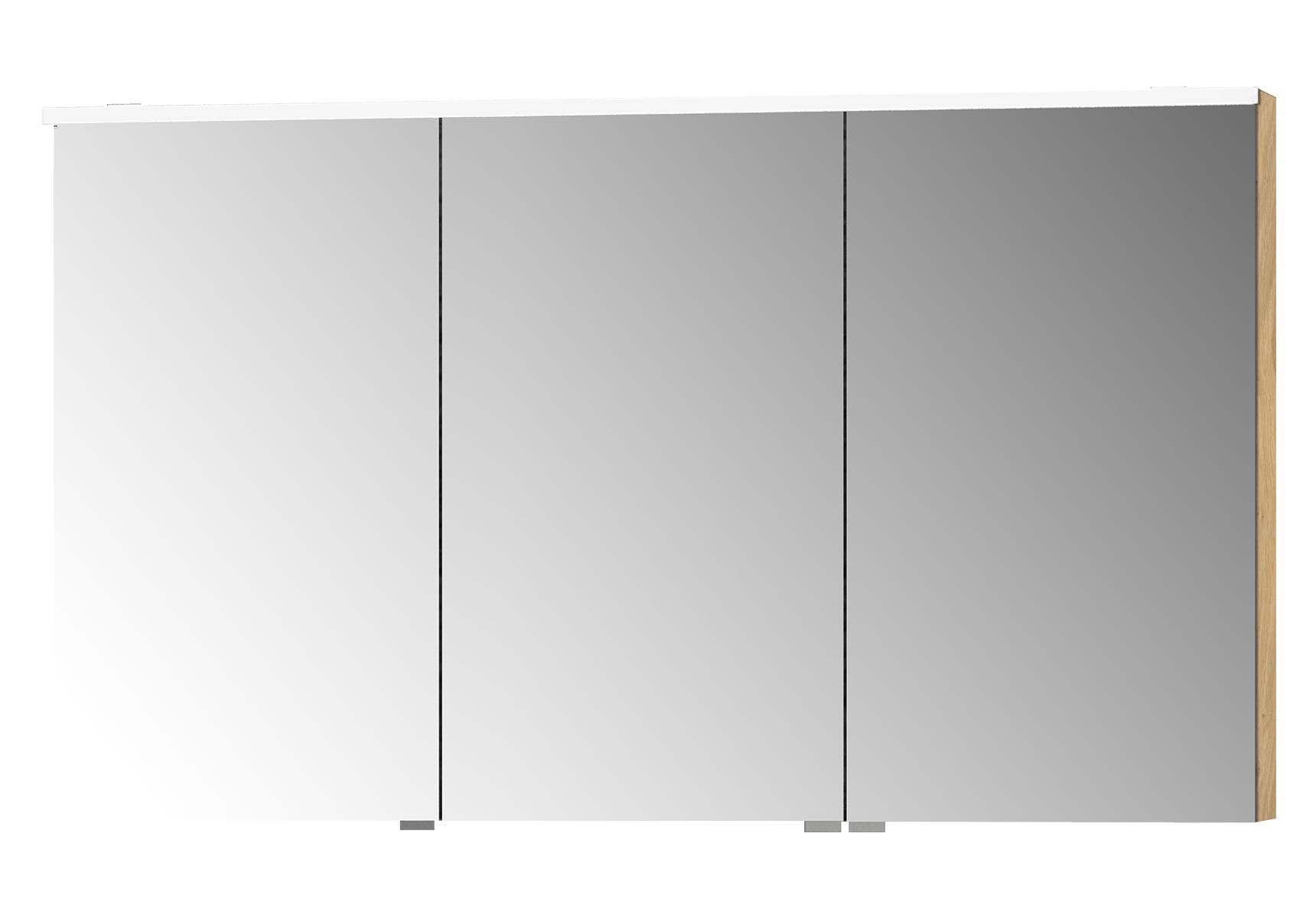 Integra Premium armoire de toilette, 120 cm, éclairage LED horizontale, chêne, 3 portes