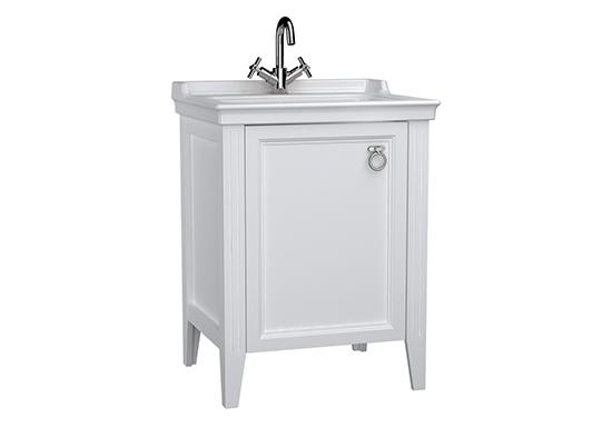 Valarte meuble avec plan céramique, 65 cm, avec porte, blanc mat, gauche