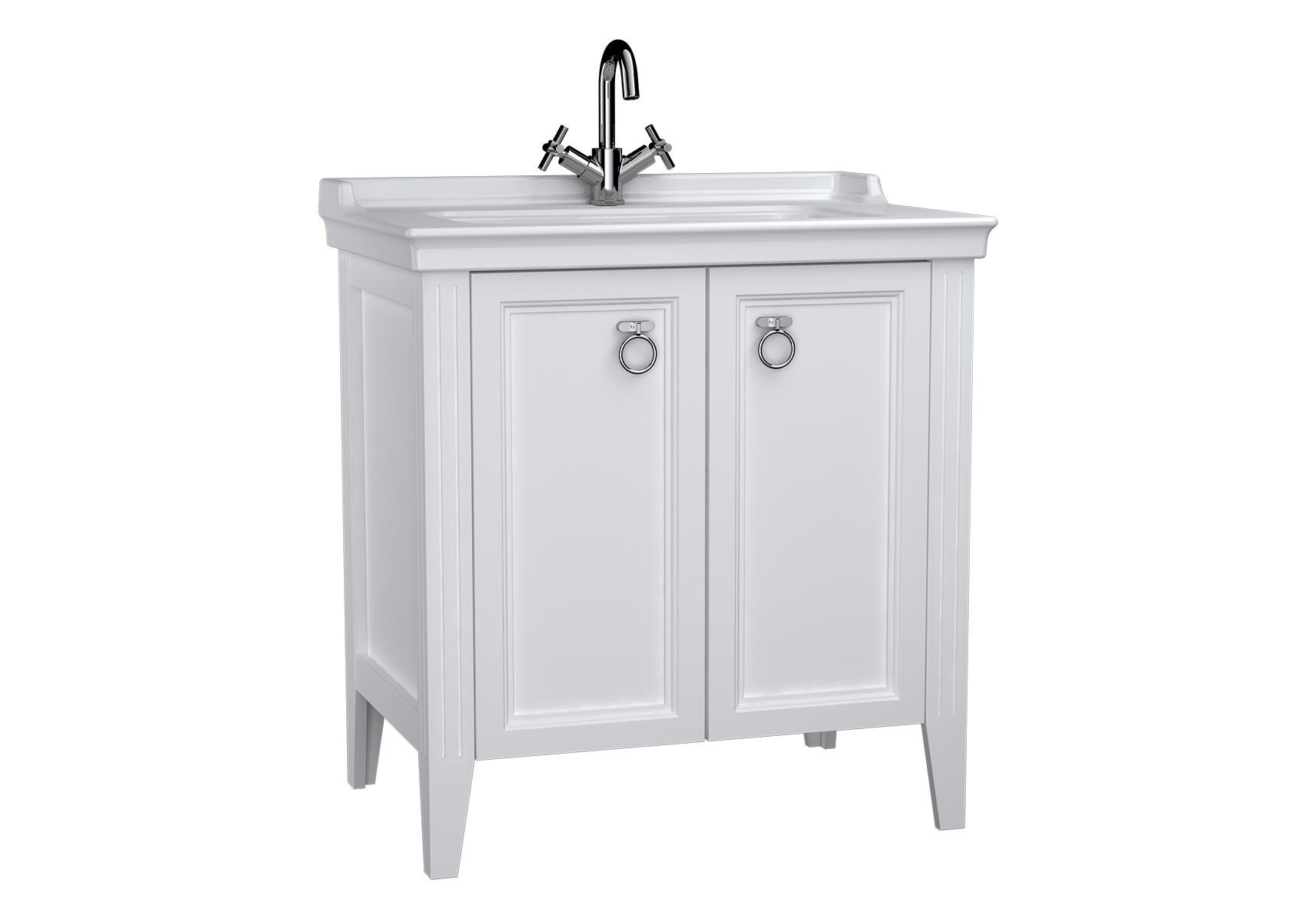 Valarte meuble avec plan céramique, 80 cm, avec portes, blanc mat