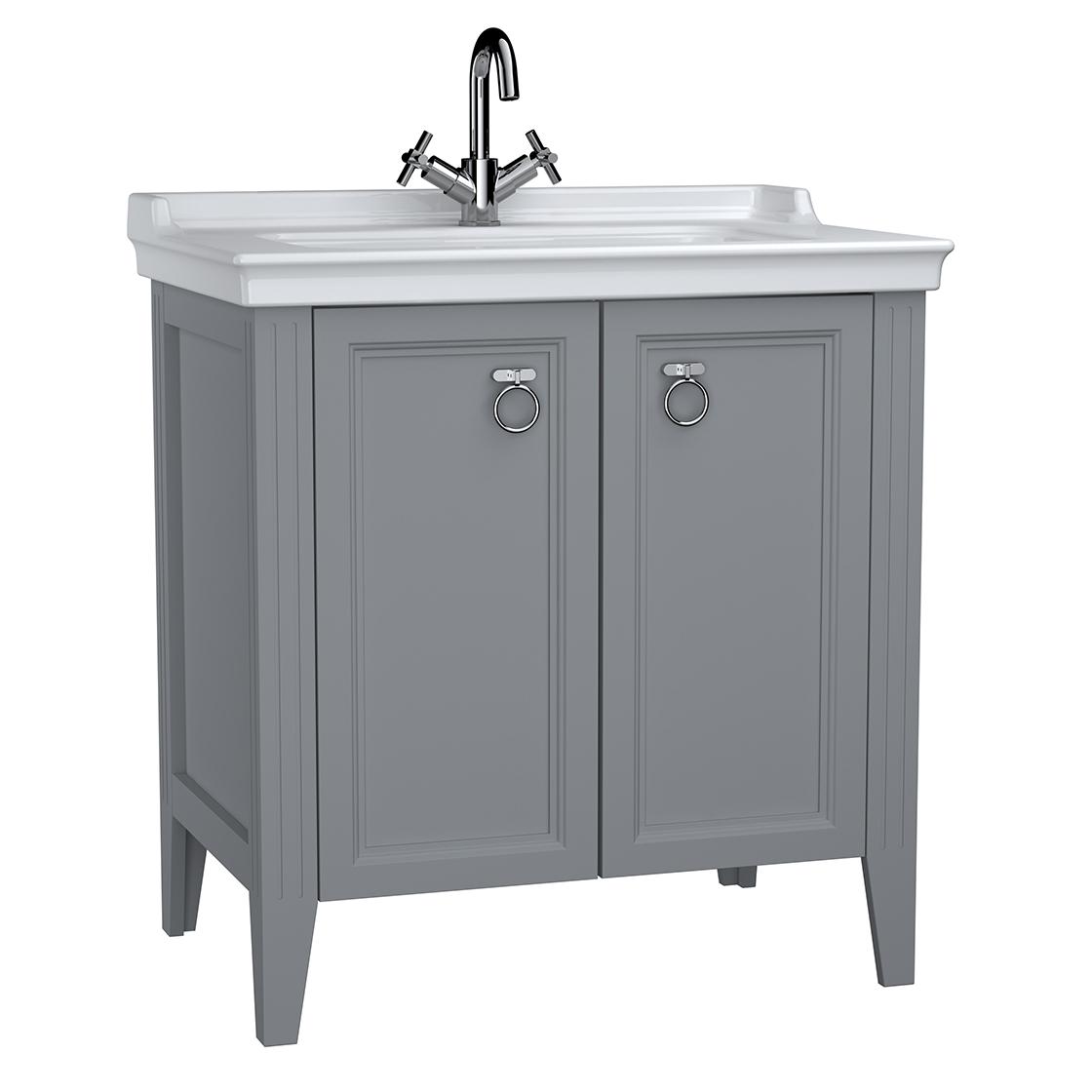 Valarte meuble avec plan céramique, 80 cm, avec portes, gris mat