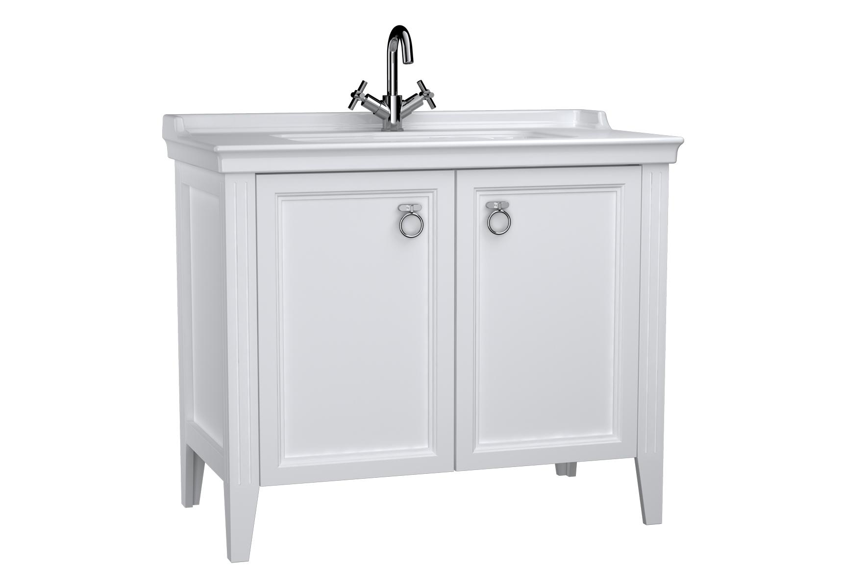 Valarte meuble avec plan céramique, 100 cm, avec portes, blanc mat