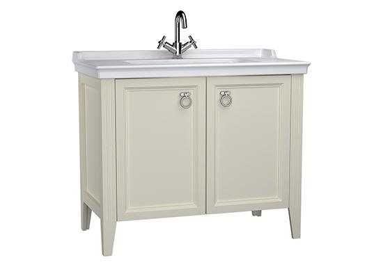 Valarte meuble avec plan céramique, 100 cm, avec portes, ivoire mat