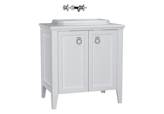 Valarte meuble sous vasque encastrée, 80 cm, avec portes, blanc mat