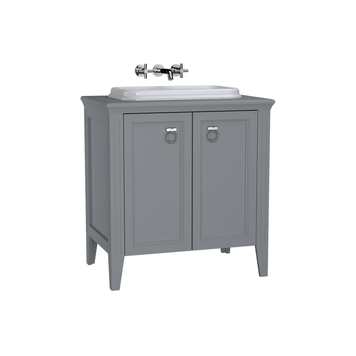 Valarte meuble sous vasque encastrée, 80 cm, avec portes, gris mat