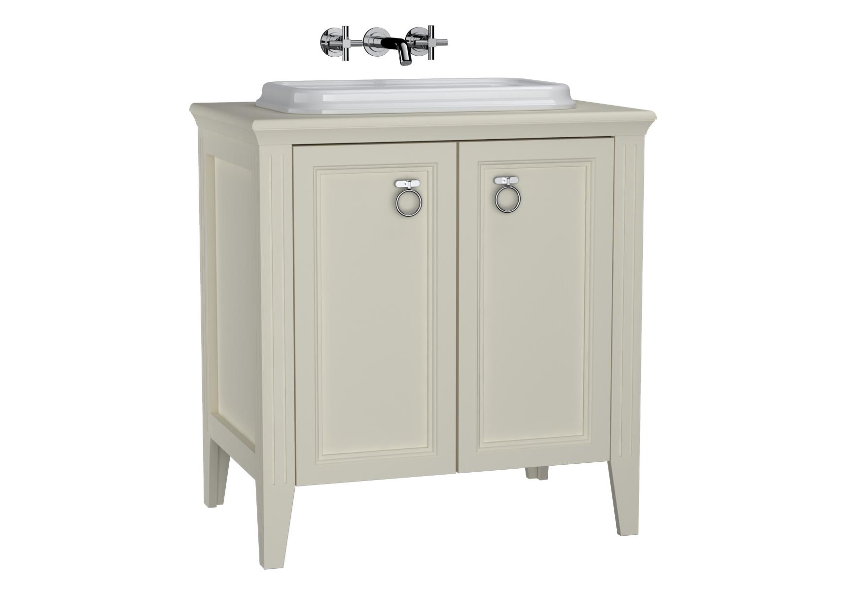 Valarte meuble sous vasque encastrée, 80 cm, avec portes, ivoire mat