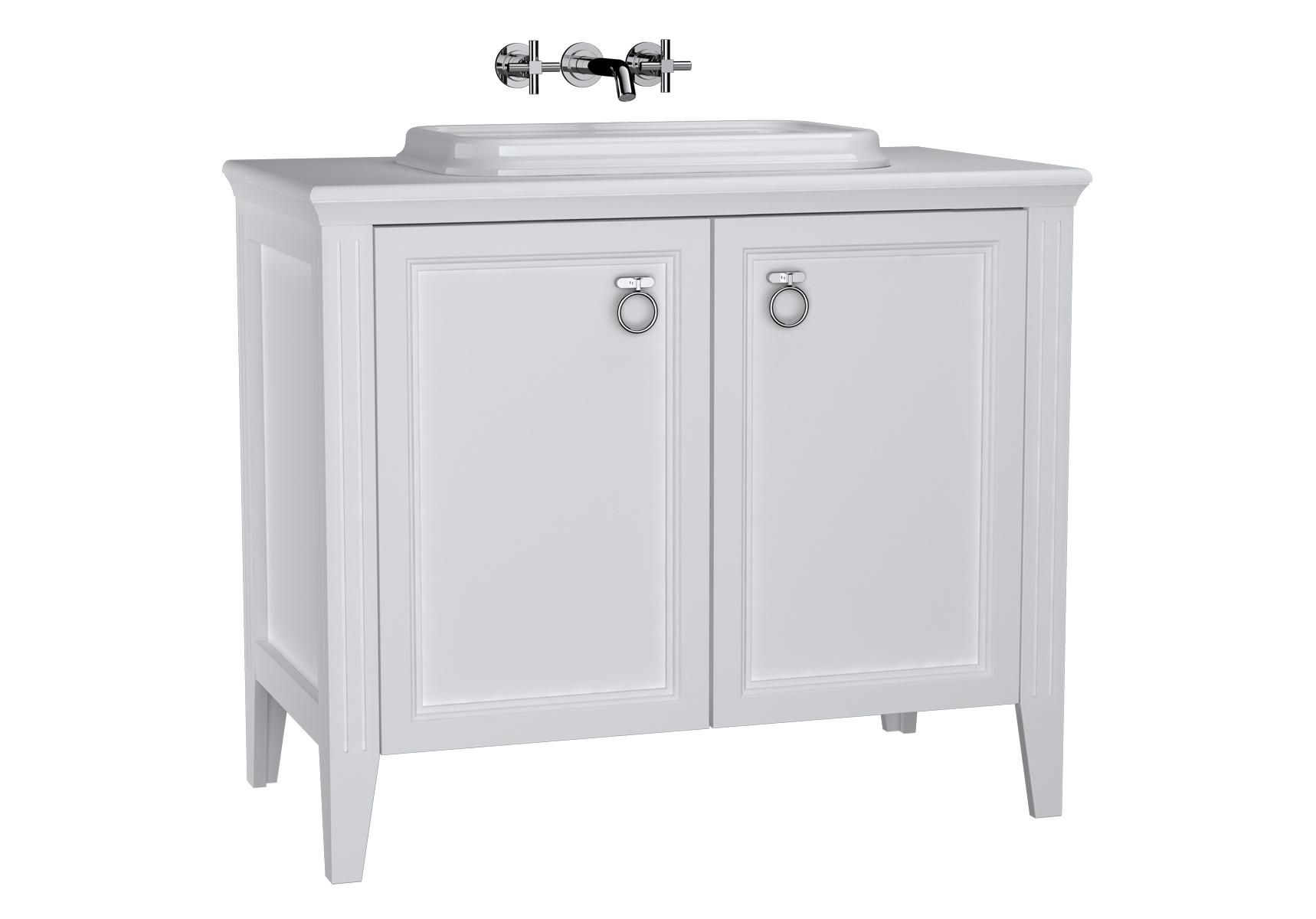 Valarte meuble sous vasque encastrée, 100 cm, avec portes, blanc mat