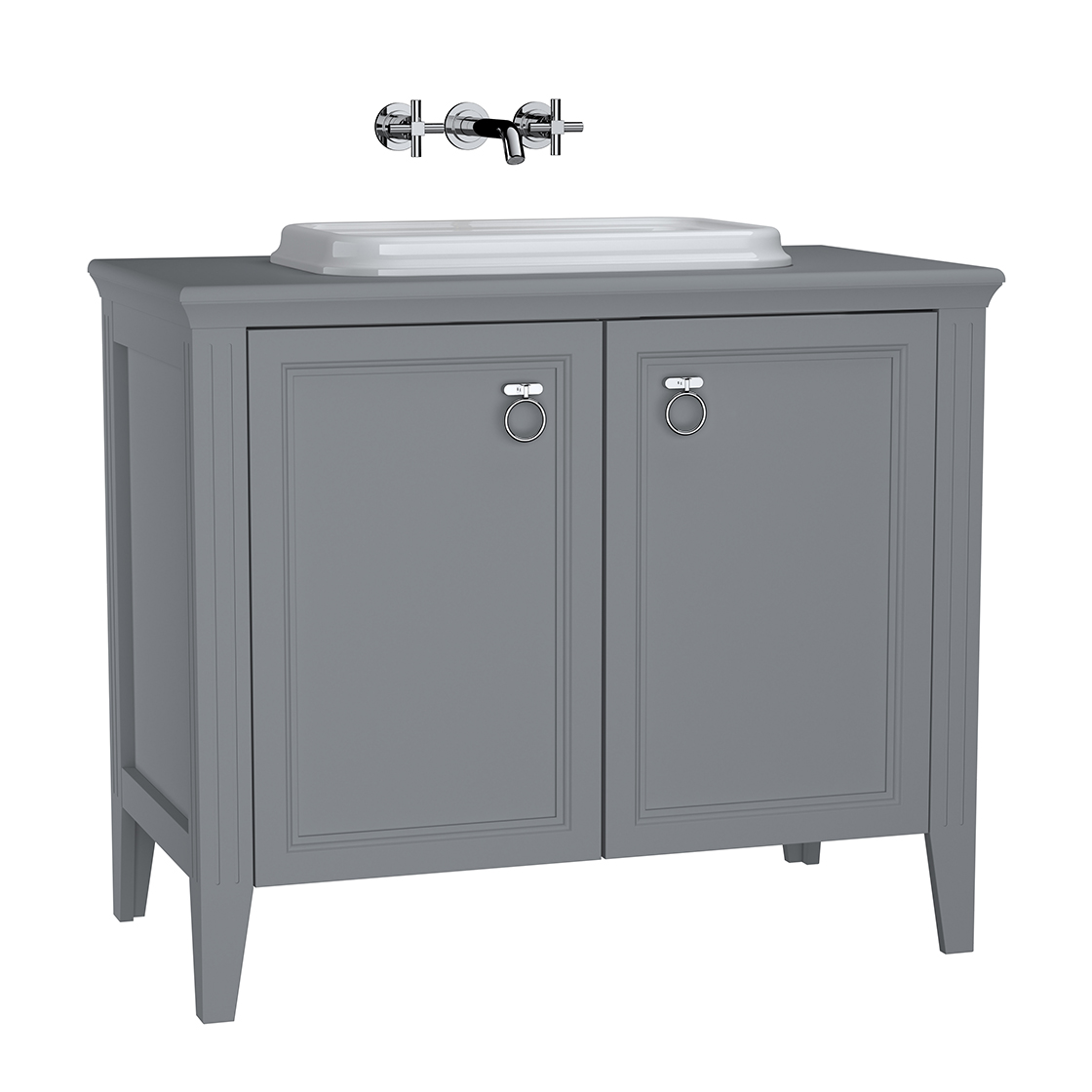 Valarte meuble sous vasque encastrée, 100 cm, avec portes, gris mat