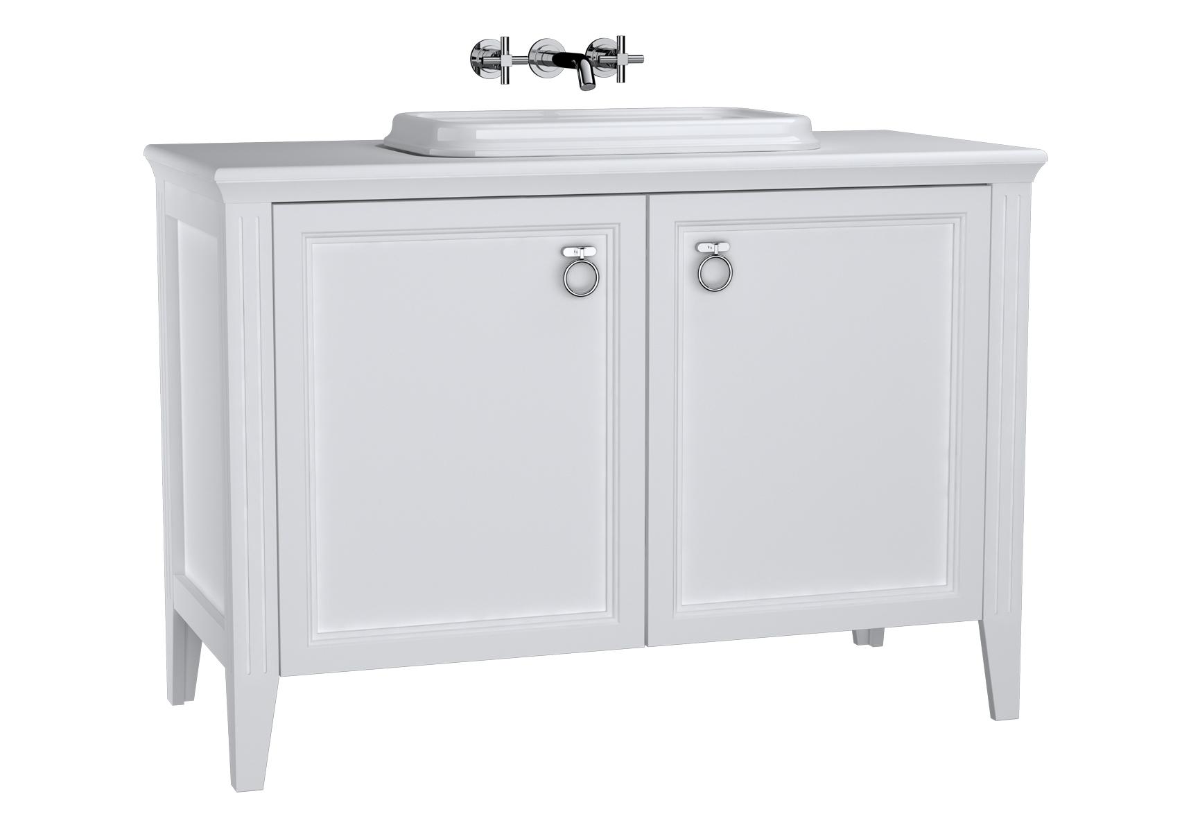 Valarte meuble sous vasque encastrée, 120 cm, avec portes, blanc mat