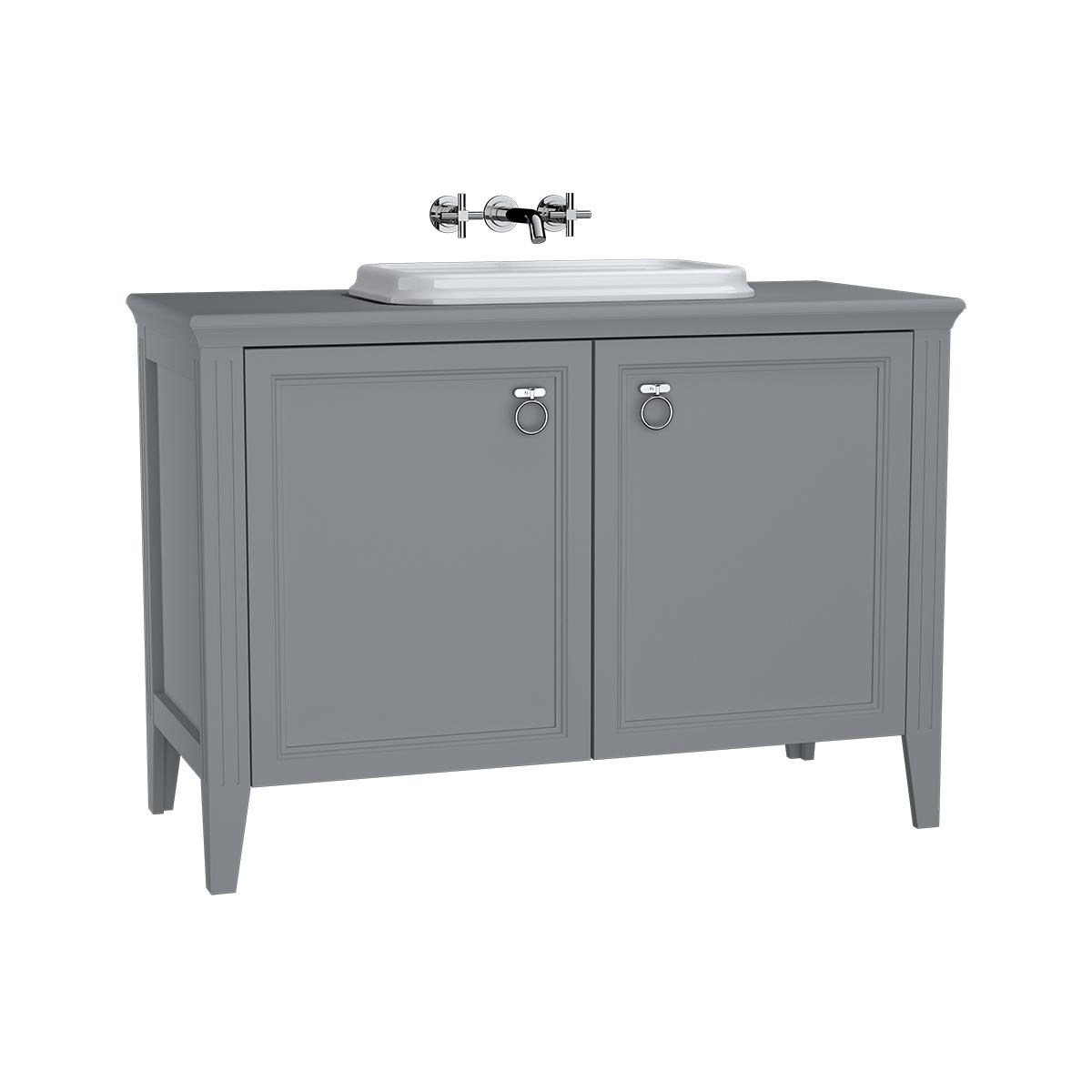 Valarte meuble sous vasque encastrée, 120 cm, avec portes, gris mat