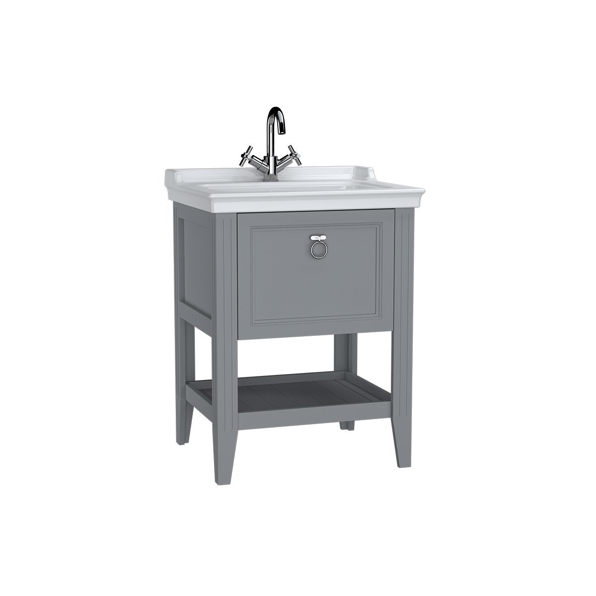 Valarte meuble avec plan céramique, 65 cm, avec tiror, gris mat