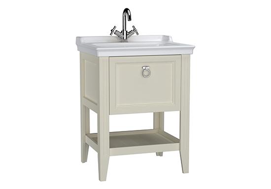 Valarte meuble avec plan céramique, 65 cm, avec tiror, ivoire mat