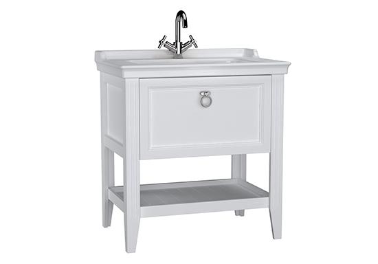 Valarte meuble avec plan céramique, 80 cm, avec tiror, blanc mat