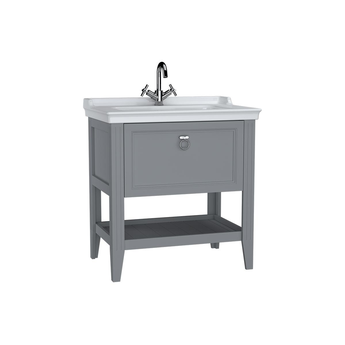 Valarte meuble avec plan céramique, 80 cm, avec tiror, gris mat