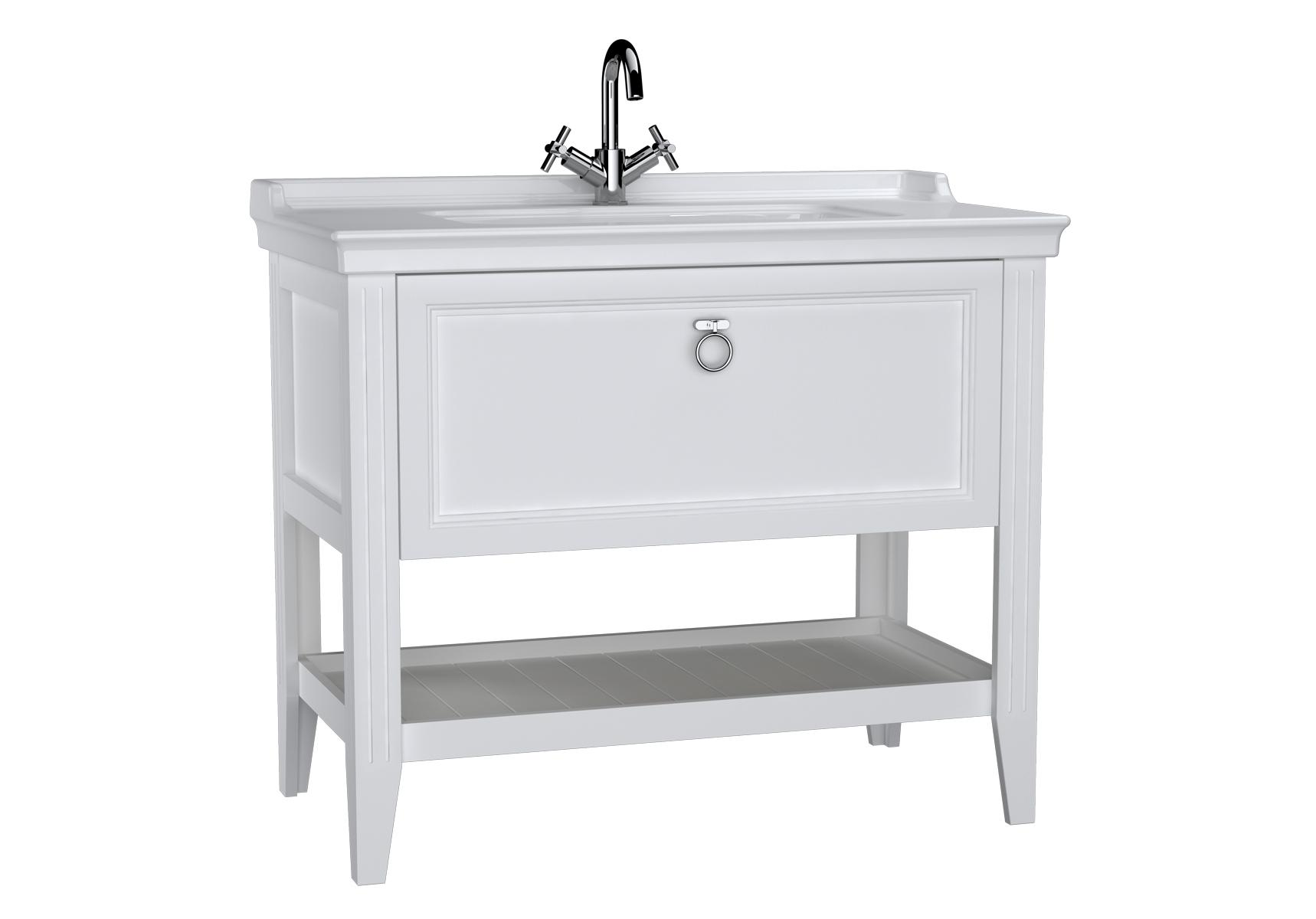 Valarte meuble avec plan céramique, 100 cm, avec tiror, blanc mat