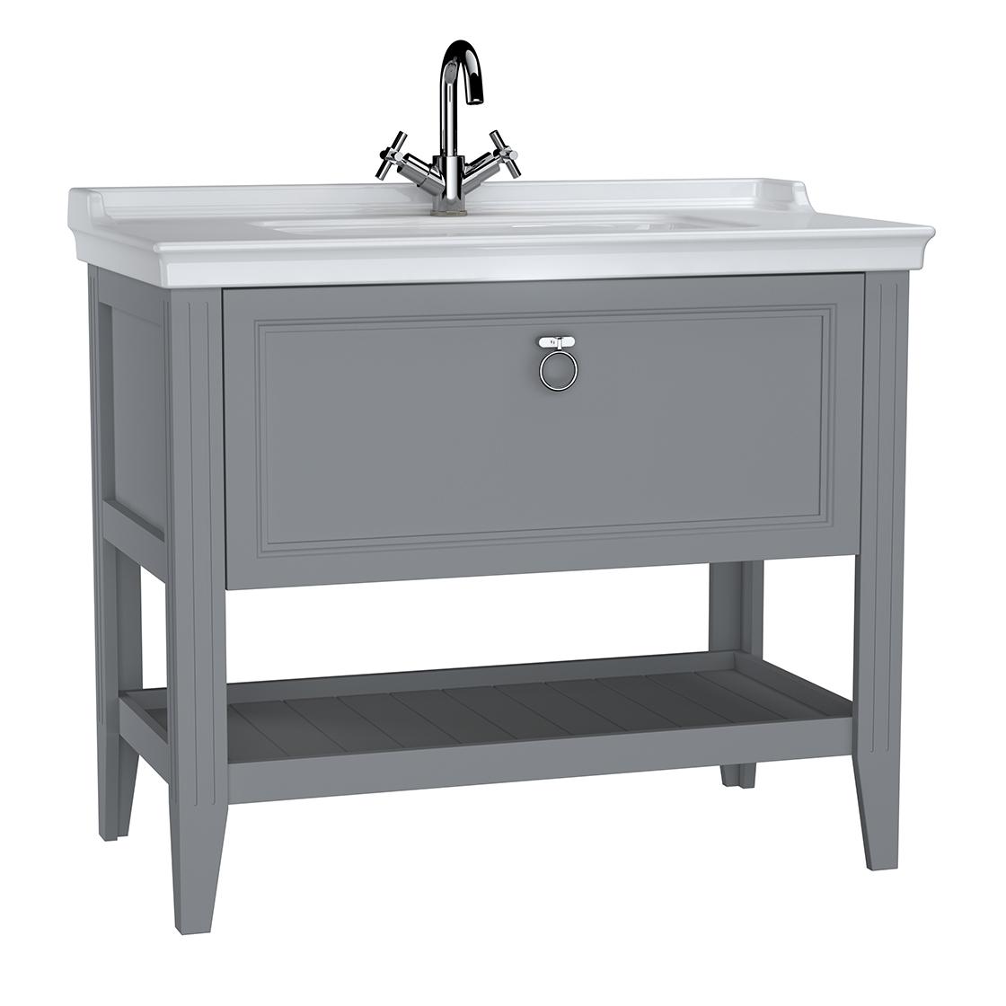 Valarte meuble avec plan céramique, 100 cm, avec tiror, gris mat