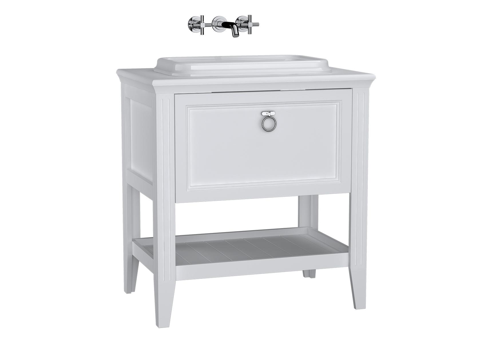 Valarte meuble sous vasque encastrée, 80 cm, avec tiroir, blanc mat