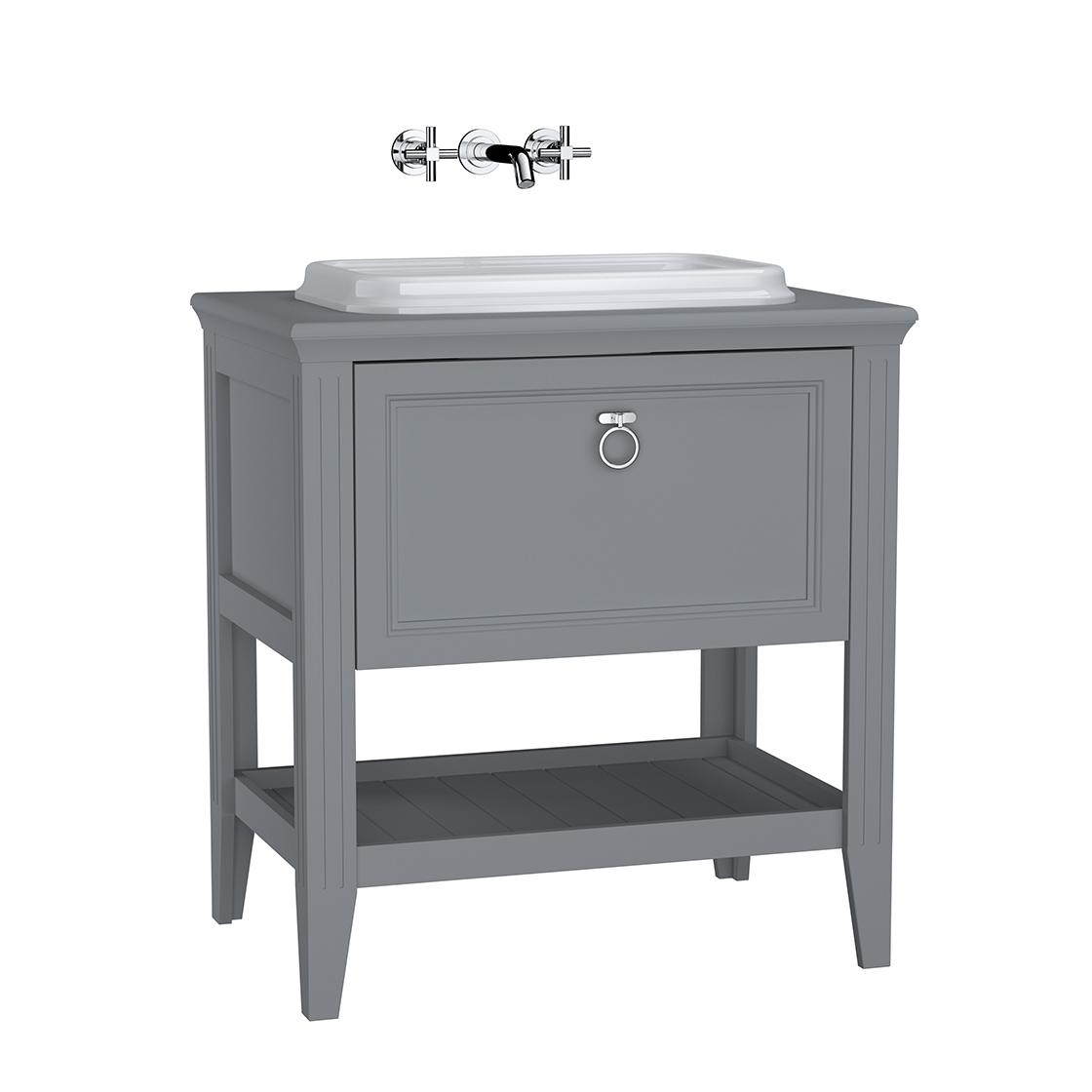 Valarte meuble sous vasque encastrée, 80 cm, avec tiroir, gris mat