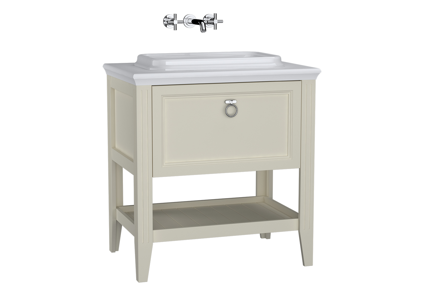Valarte meuble sous vasque encastrée, 80 cm, avec tiroir, ivoire mat
