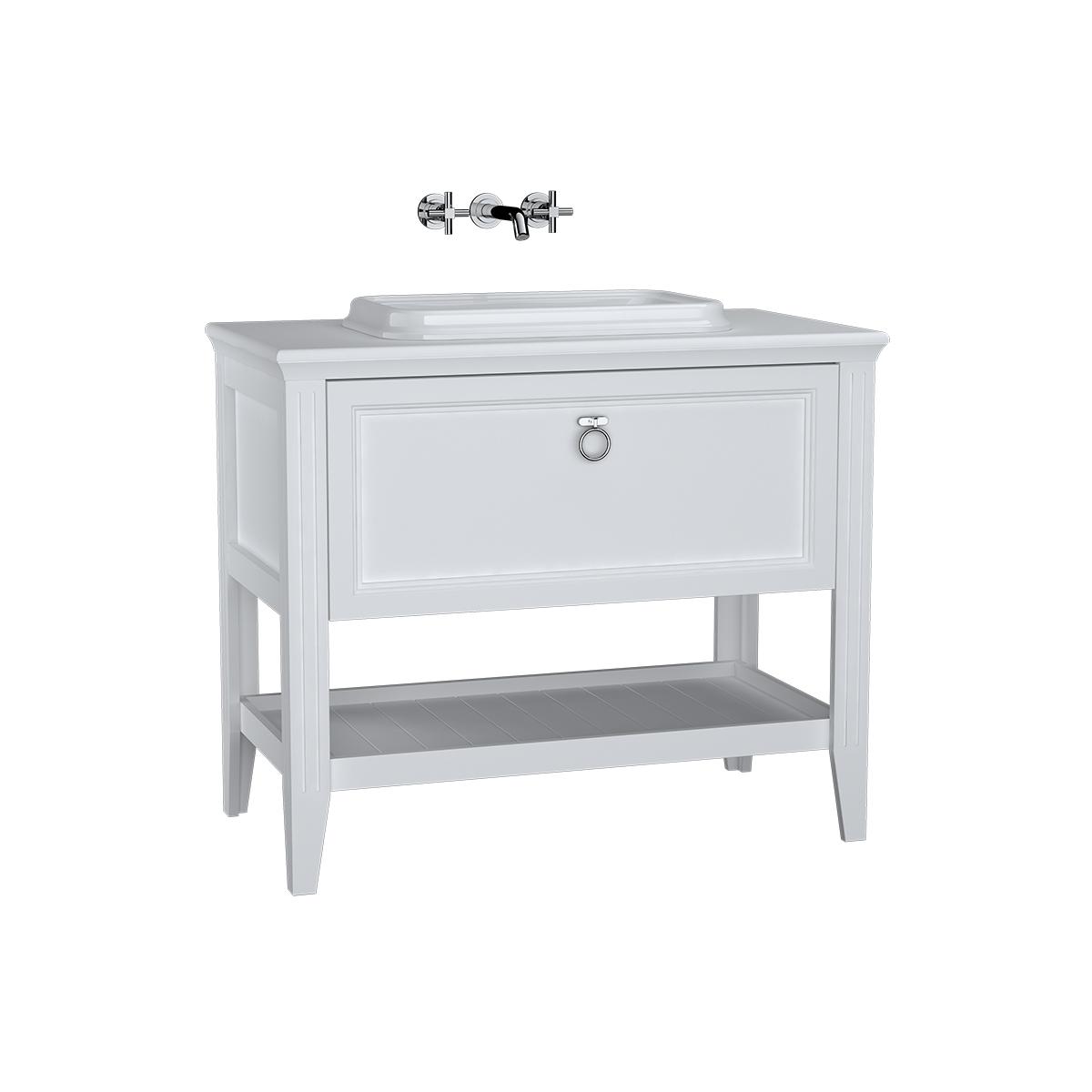 Valarte meuble sous vasque encastrée, 100 cm, avec tiroir, blanc mat
