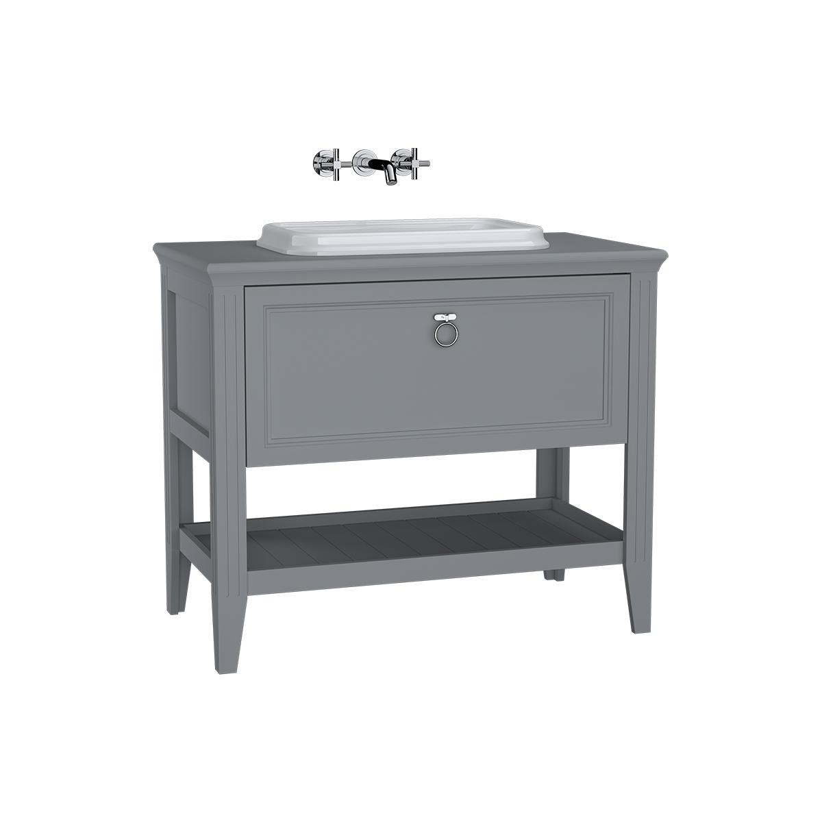 Valarte meuble sous vasque encastrée, 100 cm, avec tiroir, gris mat