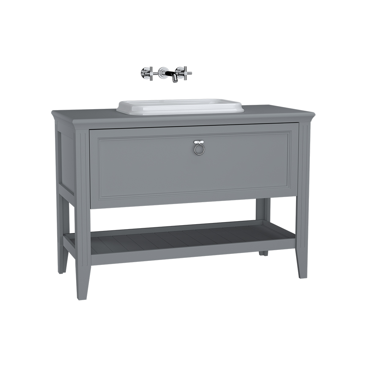 Valarte meuble sous vasque encastrée, 120 cm, avec tiroir, gris mat