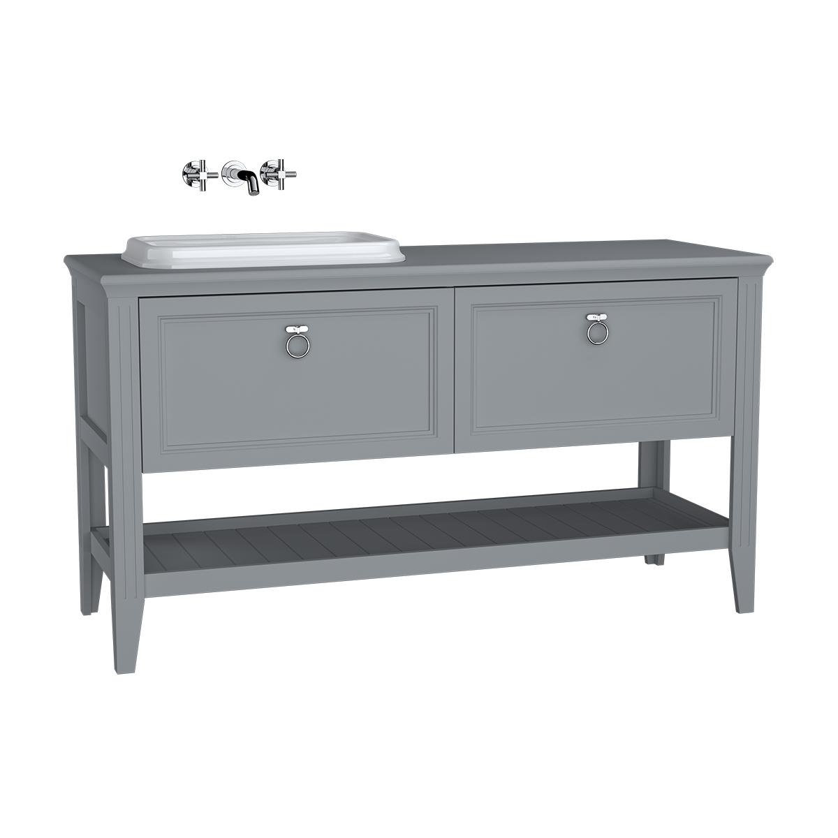 Valarte meuble sous vasque encastrée, vasque (gauche), 150 cm, tiroir, gris mat