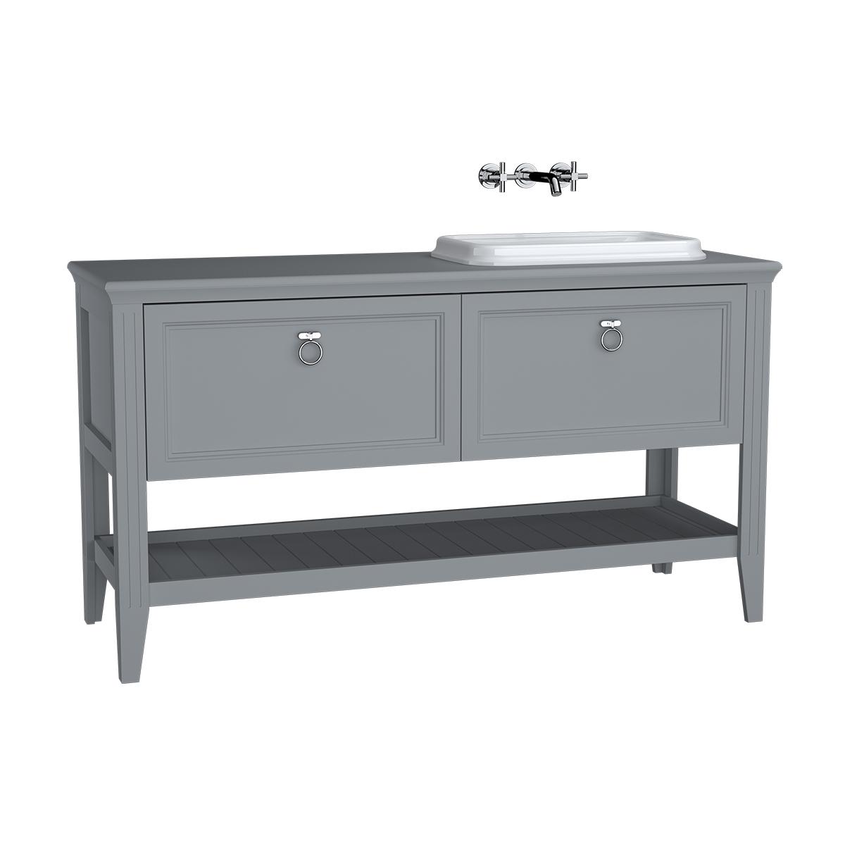Valarte meuble sous vasque encastrée, vasque (droite), 150 cm, tiroir, gris mat