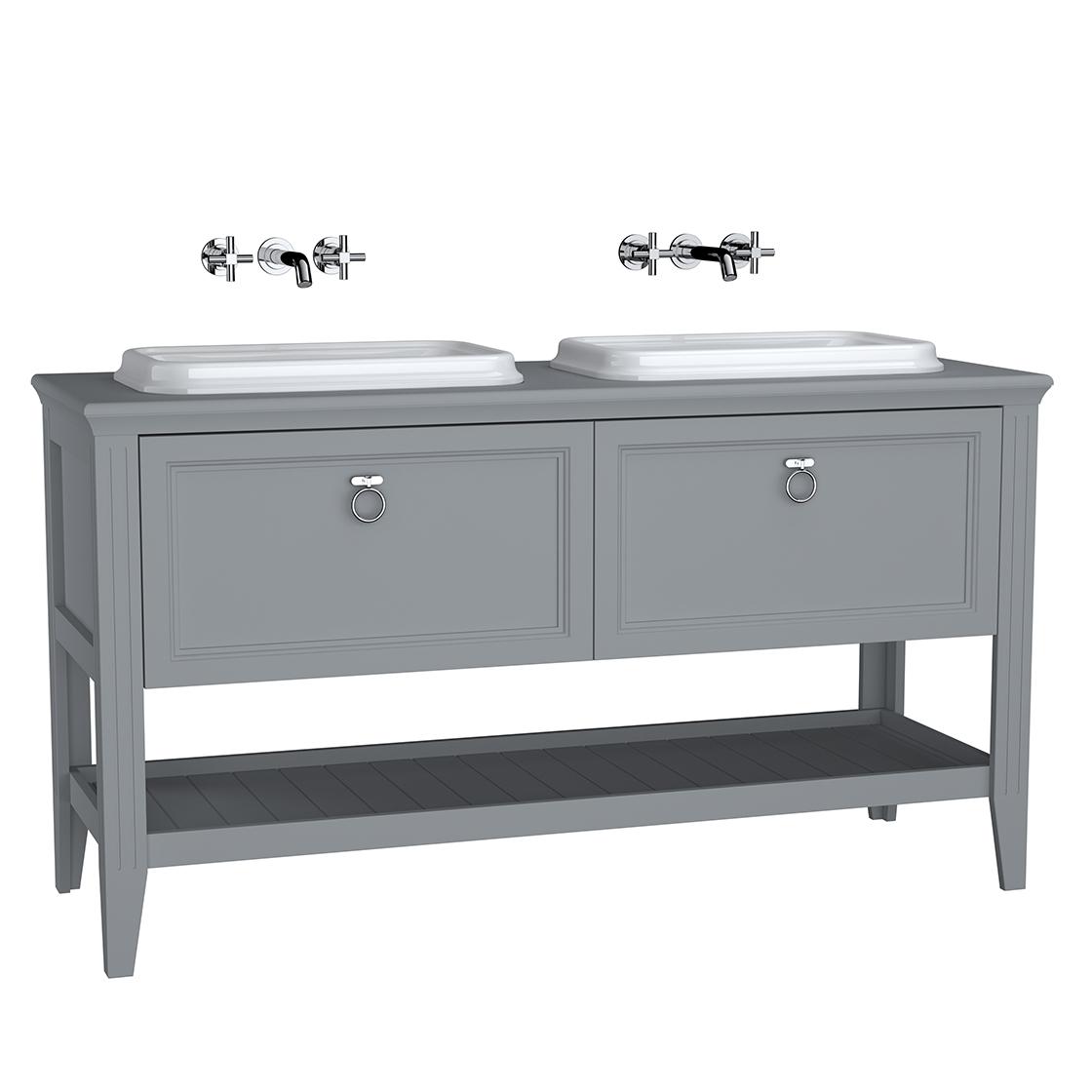 Valarte meuble sous vasque encastrée, 2 vasques, 150 cm, tiroir, gris mat