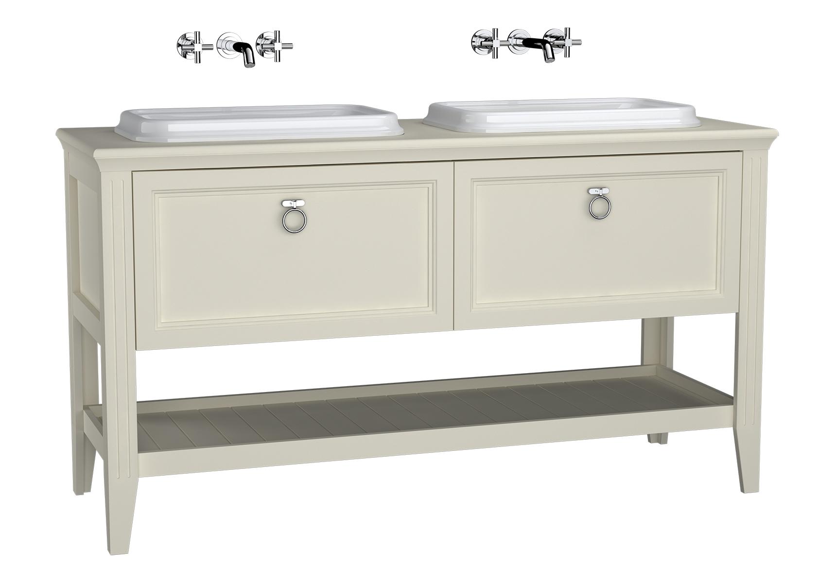 Valarte meuble sous vasque encastrée, 2 vasques, 150 cm, tiroir, ivoire mat