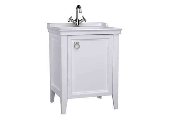 Valarte meuble avec plan céramique, 65 cm, avec porte, blanc mat, droite
