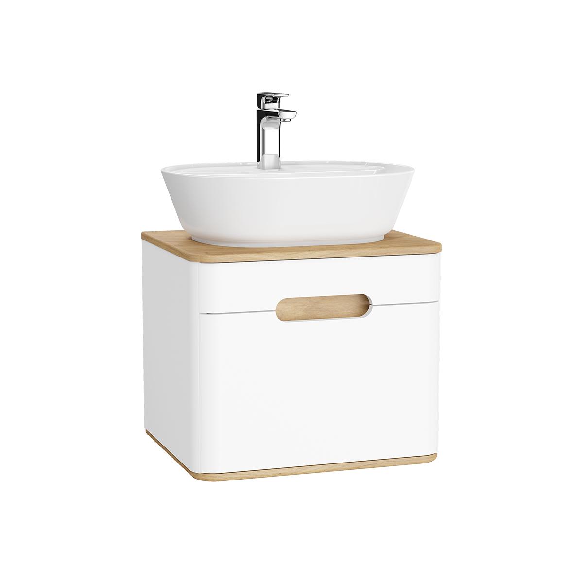 Sento Waschtischunterschrank, 55 cm, für Aufsatzwaschtische, mit 1 Vollauszug, Weiß Matt