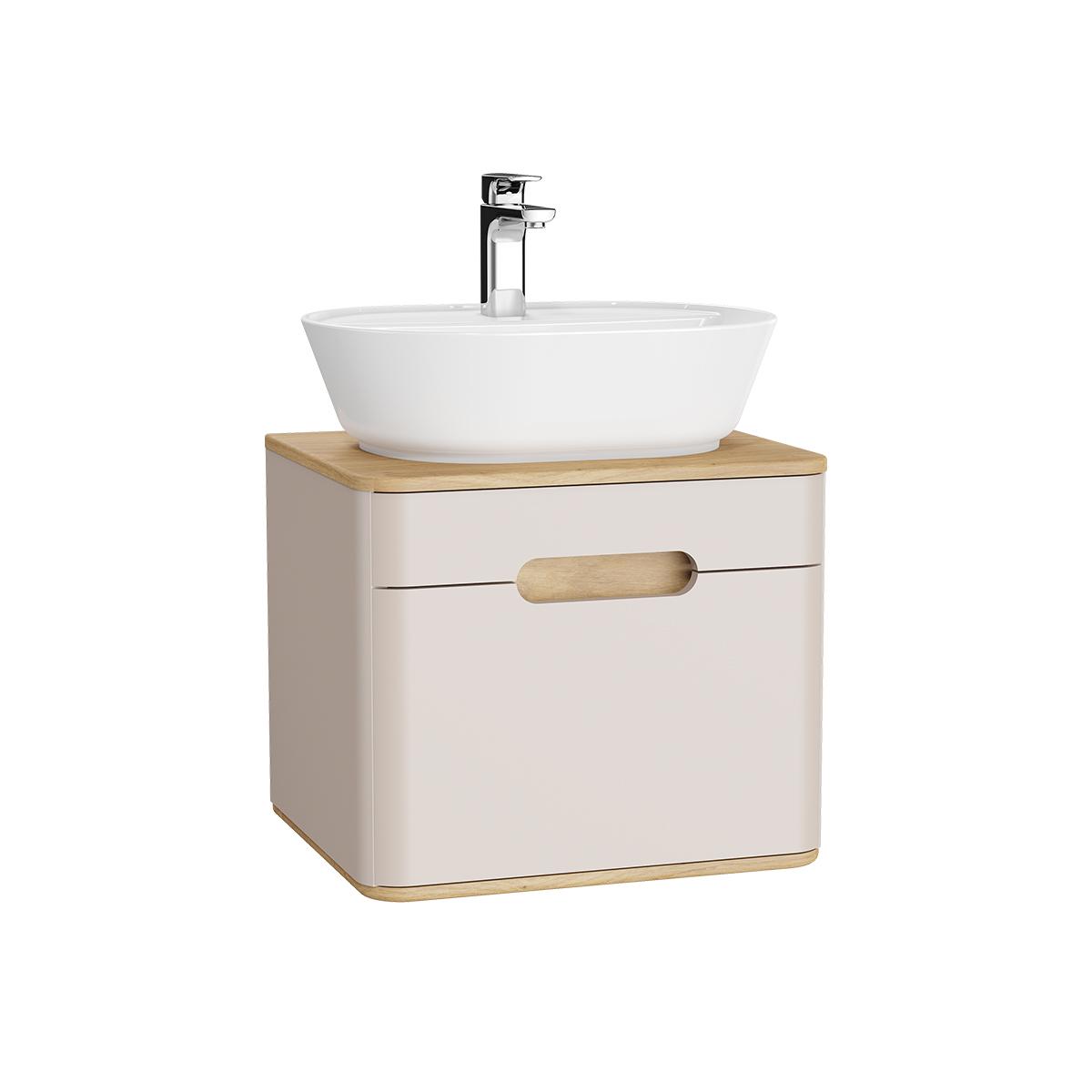 Sento Waschtischunterschrank, 55 cm, für Aufsatzwaschtische, mit 1 Vollauszug, Crème Matt