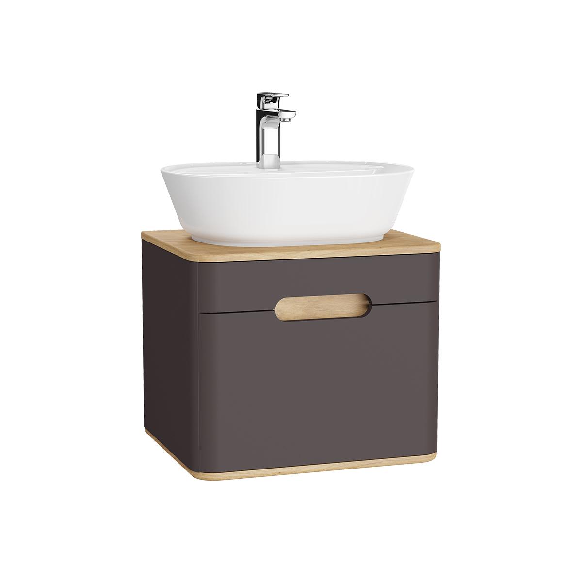 Sento Waschtischunterschrank, 55 cm, für Aufsatzwaschtische, mit 1 Vollauszug, Anthrazit Matt