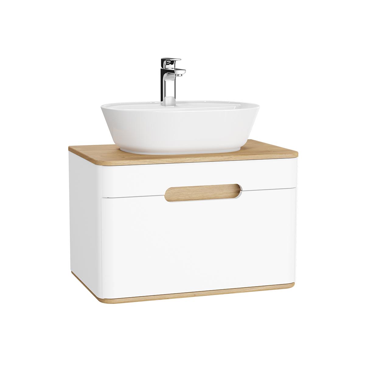 Sento Waschtischunterschrank, 70 cm, für Aufsatzwaschtische, mit 1 Vollauszug, Weiß Matt