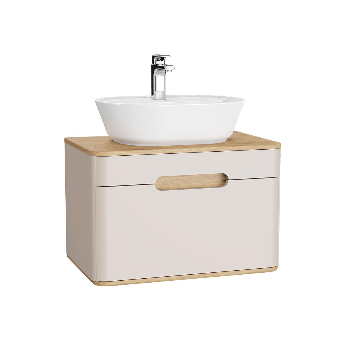 Sento Waschtischunterschrank, 70 cm, für Aufsatzwaschtische, mit 1 Vollauszug, Crème Matt