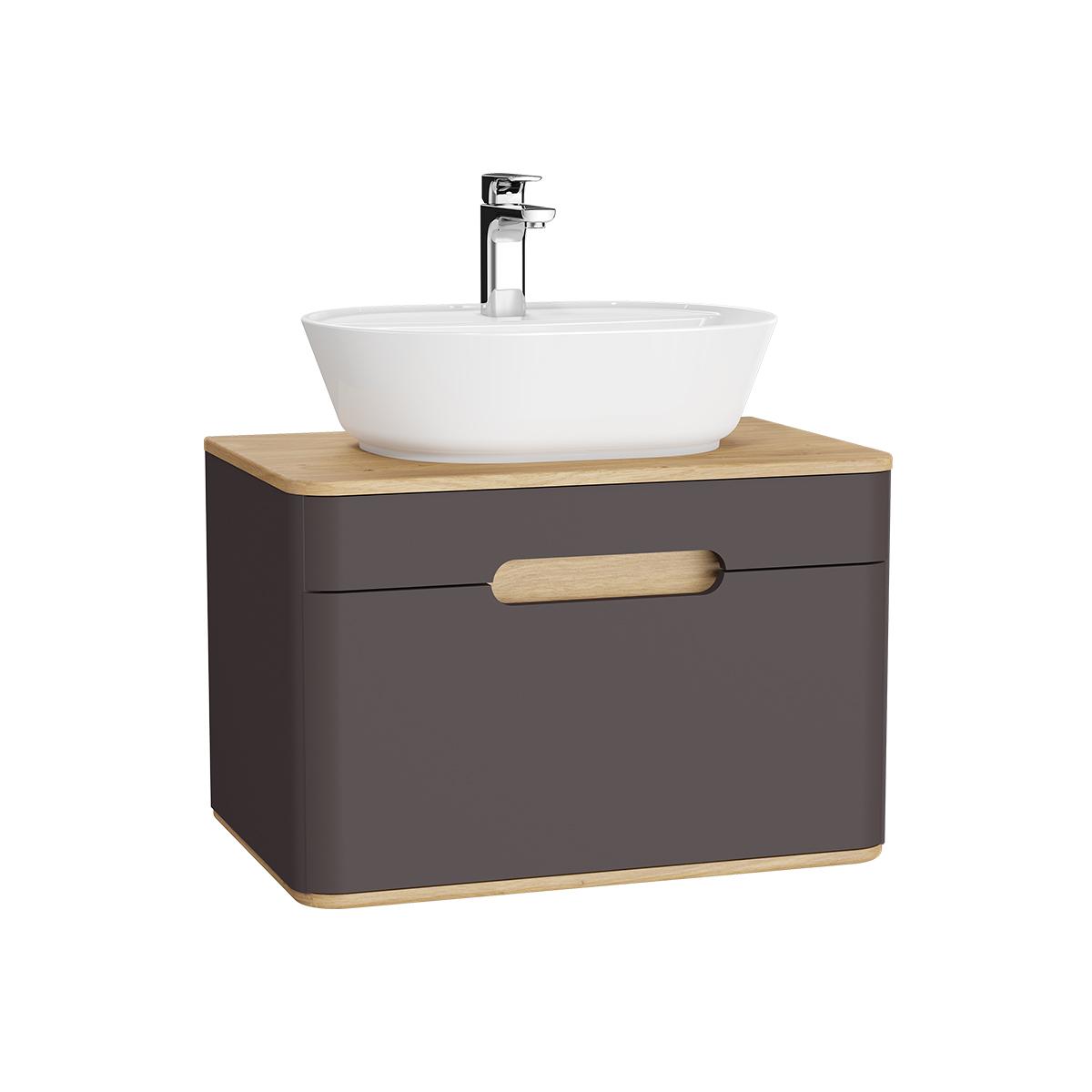 Sento Waschtischunterschrank, 70 cm, für Aufsatzwaschtische, mit 1 Vollauszug, Anthrazit Matt