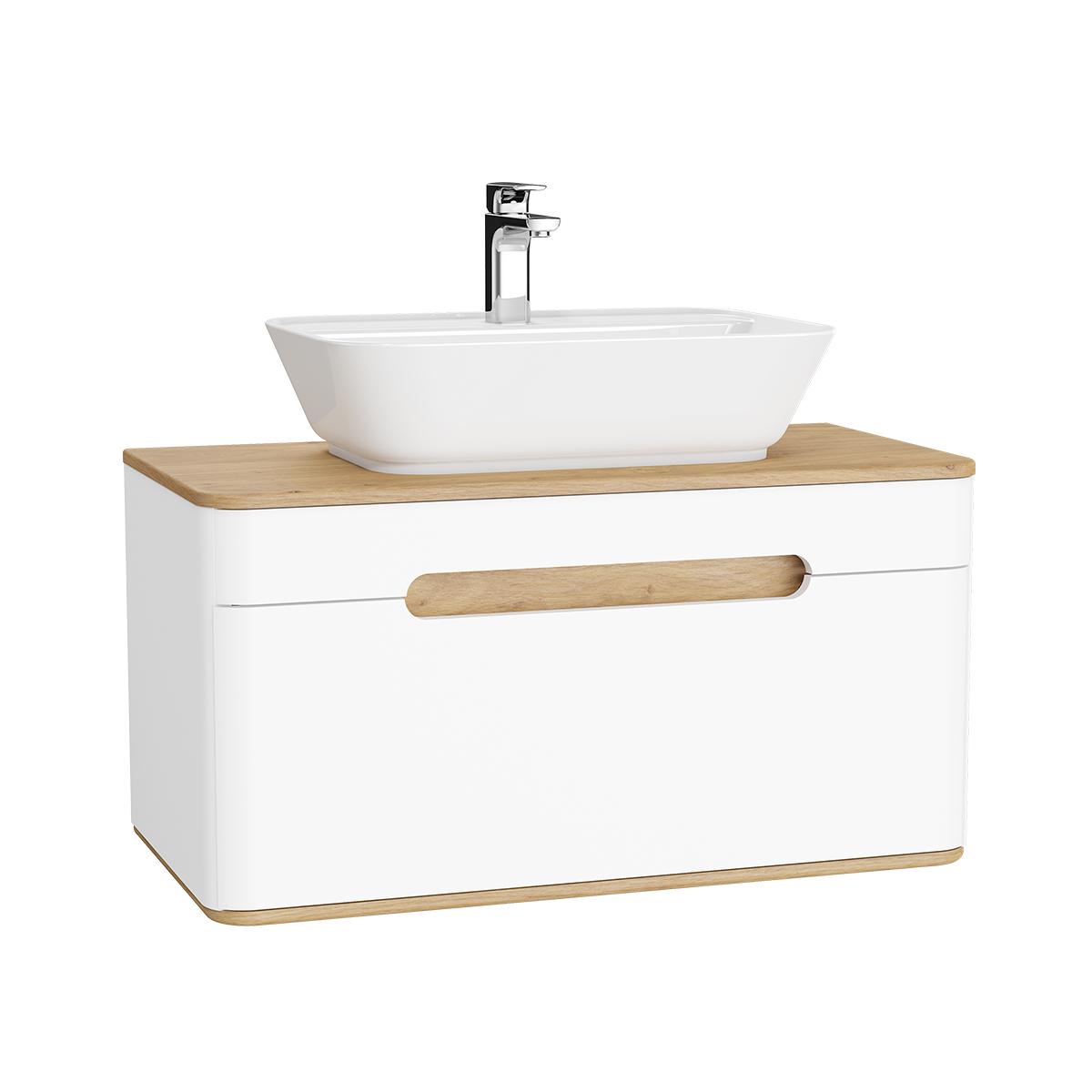 Sento Waschtischunterschrank, 90 cm, für Aufsatzwaschtische, mit 1 Vollauszug, Weiß Matt