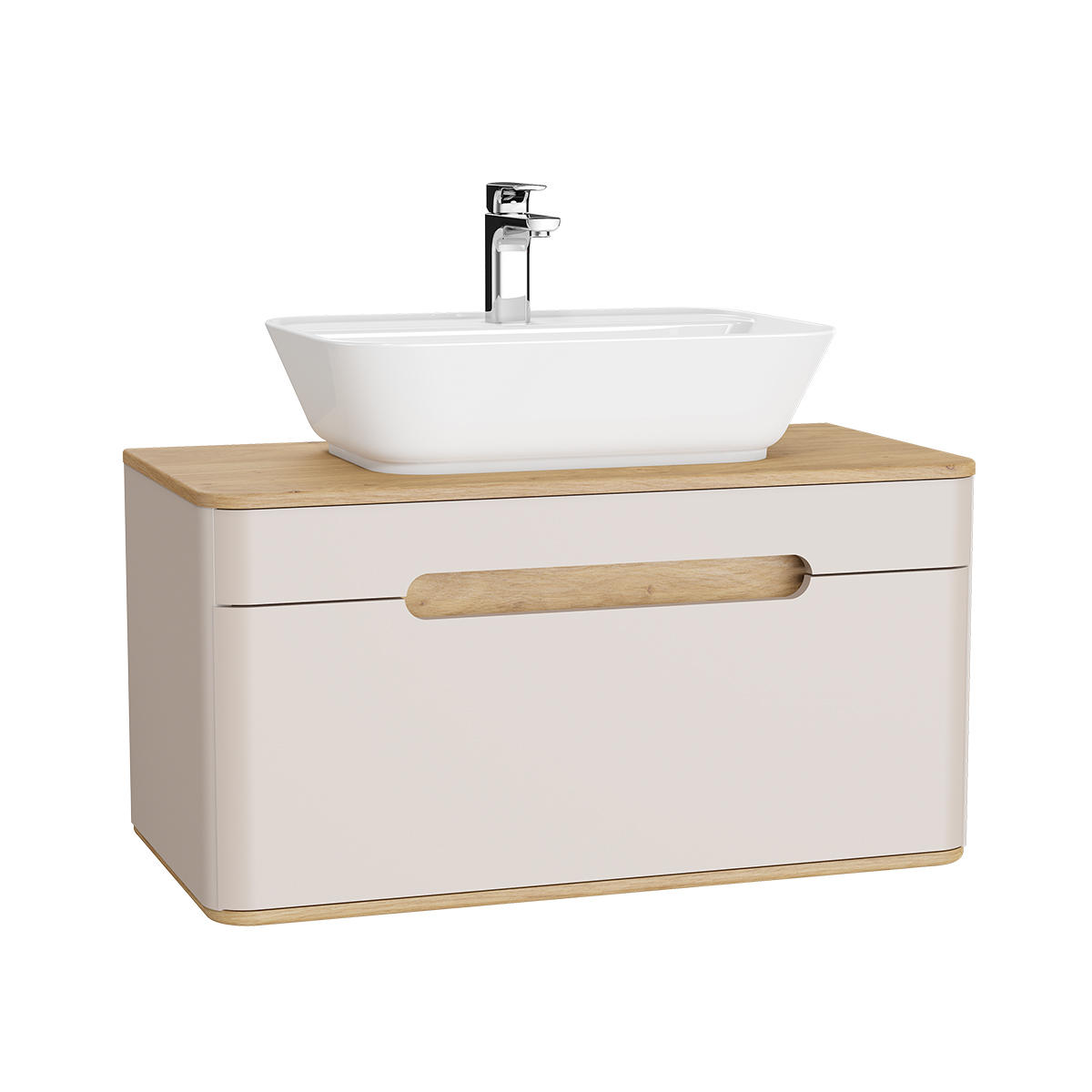 Sento Waschtischunterschrank, 90 cm, für Aufsatzwaschtische, mit 1 Vollauszug, Crème Matt