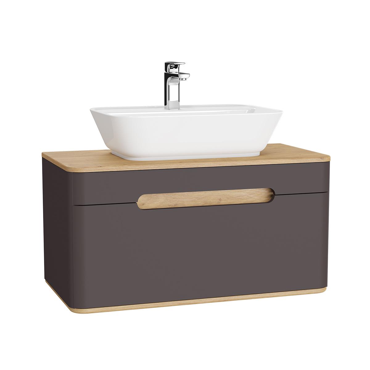 Sento Waschtischunterschrank, 90 cm, für Aufsatzwaschtische, mit 1 Vollauszug, Anthrazit Matt