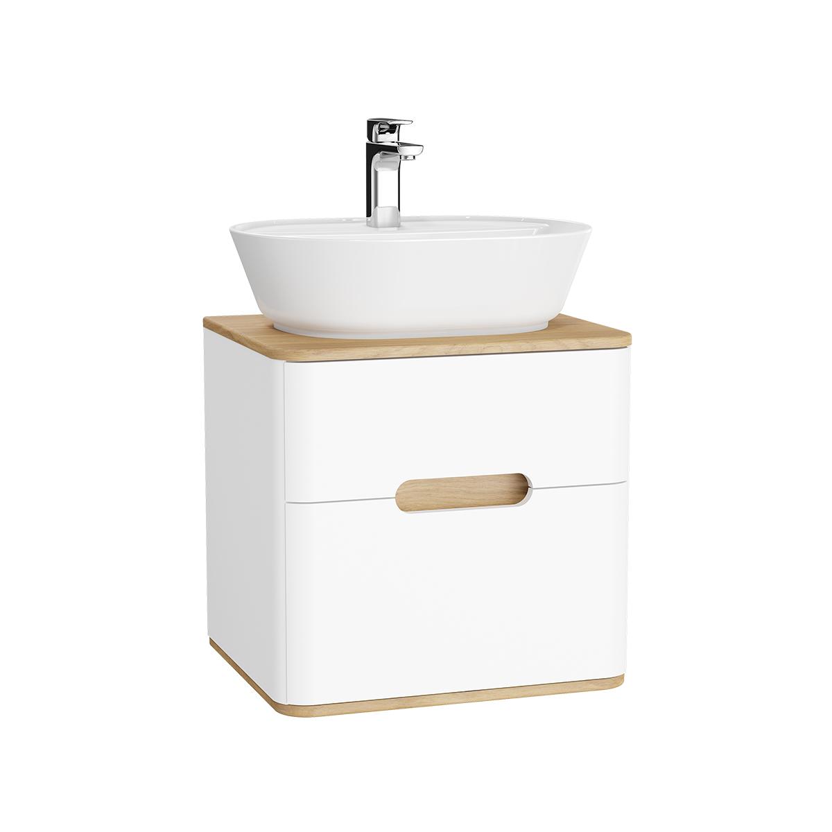 Sento Waschtischunterschrank, 55 cm, für Aufsatzwaschtische, mit 2 Vollauszügen, Weiß Matt