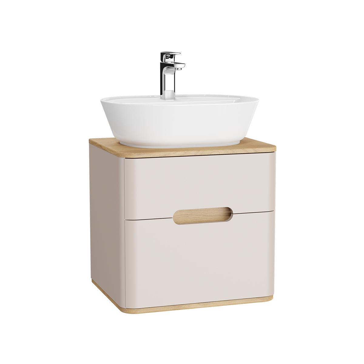 Sento Waschtischunterschrank, 55 cm, für Aufsatzwaschtische, mit 2 Vollauszügen, Crème Matt