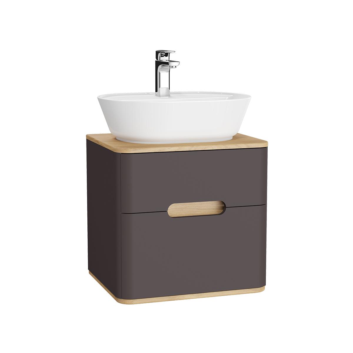 Sento Waschtischunterschrank, 55 cm, für Aufsatzwaschtische, mit 2 Vollauszügen, Anthrazit Matt
