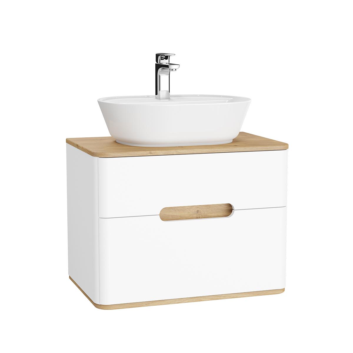 Sento Waschtischunterschrank, 70 cm, für Aufsatzwaschtische, mit 2 Vollauszügen, Weiß Matt
