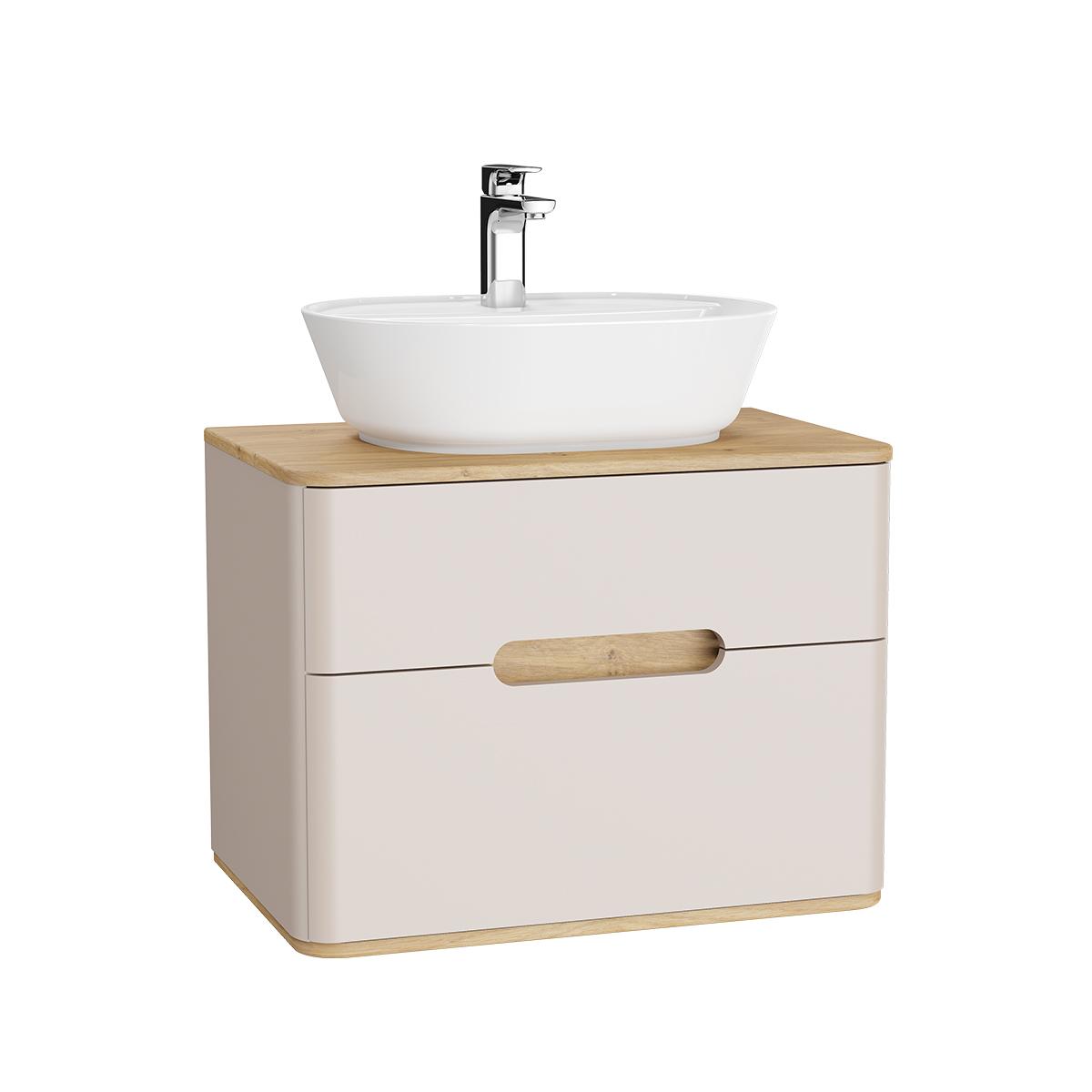 Sento Waschtischunterschrank, 70 cm, für Aufsatzwaschtische, mit 2 Vollauszügen, Crème Matt