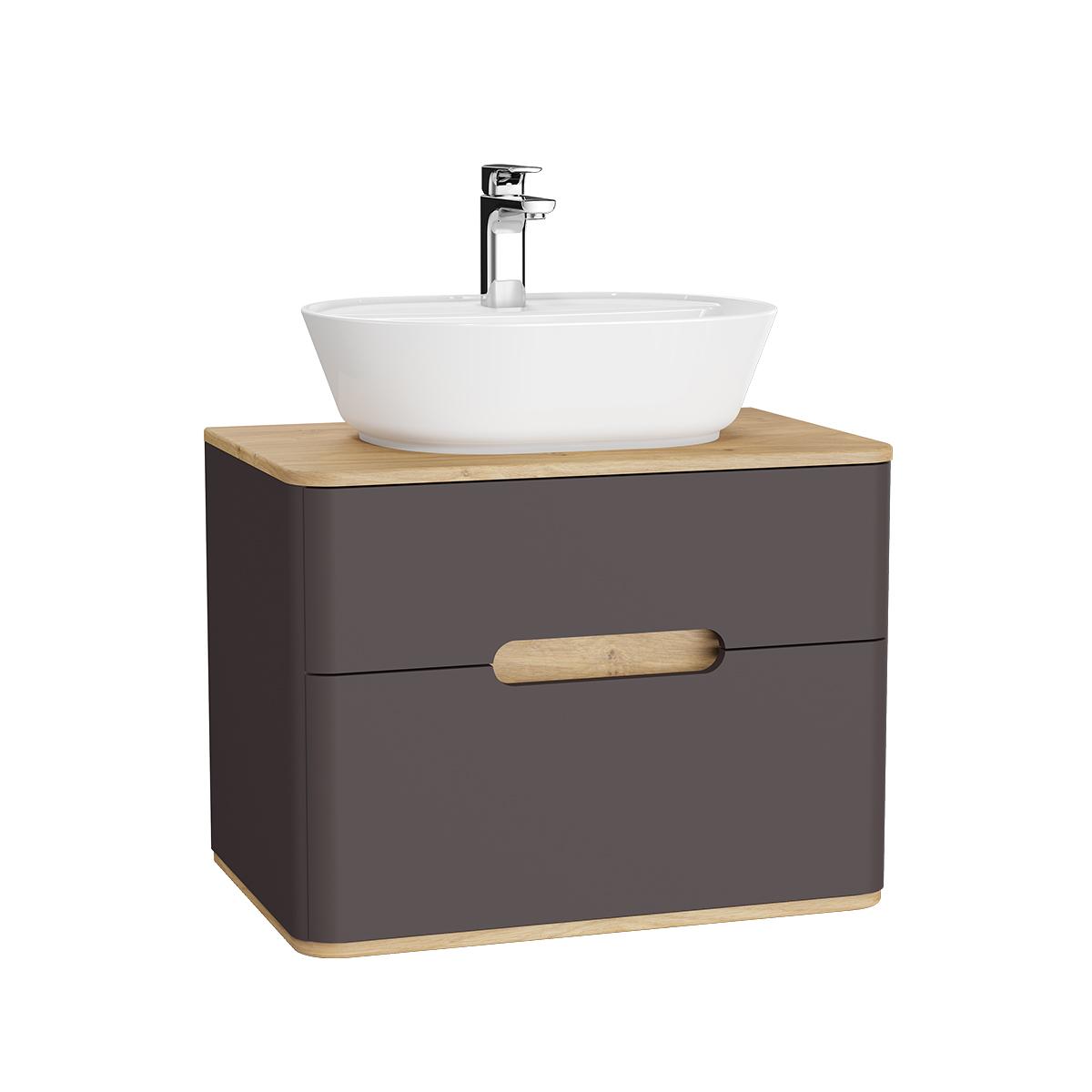 Sento Waschtischunterschrank, 70 cm, für Aufsatzwaschtische, mit 2 Vollauszügen, Anthrazit Matt