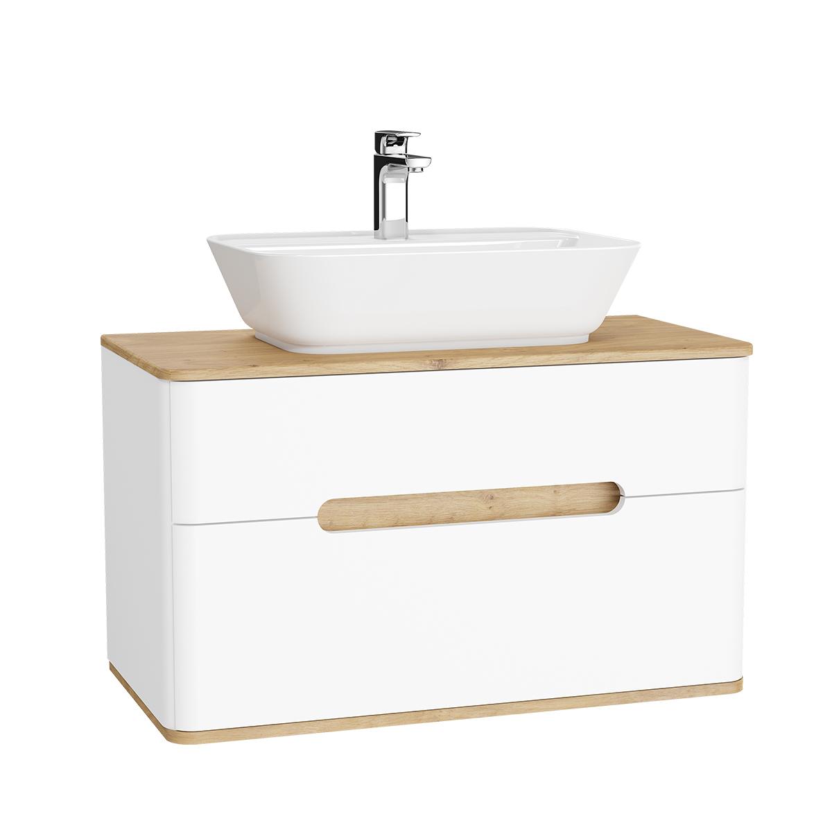 Sento Waschtischunterschrank, 90 cm, für Aufsatzwaschtische, mit 2 Vollauszügen, Weiß Matt